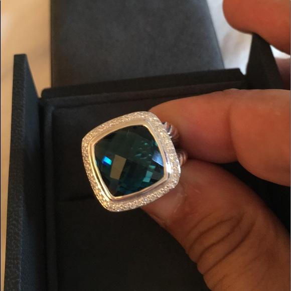 David Yurman Jewelry - David Yurman 14mm Albion Diamond Hampton Topaz Sz7